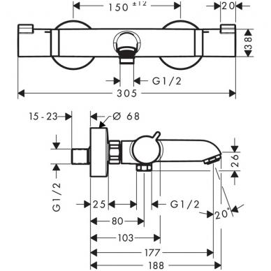 Hansgrohe Ecostat Comfort termostatinis vonios maišytuvas, chromas 2