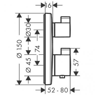 Hansgrohe Ecostat S potinkinis termostatinis vonios maišytuvas, chromas 2