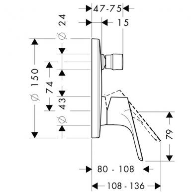 Hansgrohe Focus potinkinis vonios maišytuvas, chromas 2