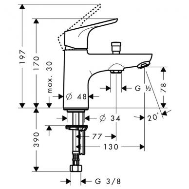 Hansgrohe Focus vonios maišytuvas montuojamas į kraštą, chromas 2