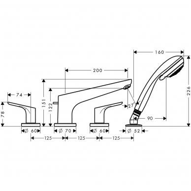 Hansgrohe Focus vonios maišytuvas montuojamas į vonios kraštą, chromas 2