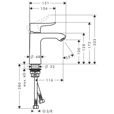 Hansgrohe Metris 110 praustuvo maišytuvas, 3.5 l/min, chromas 2