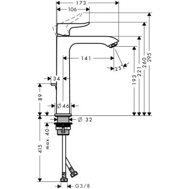 Hansgrohe Metris 200 aukštas praustuvo maišytuvas, chromas 2