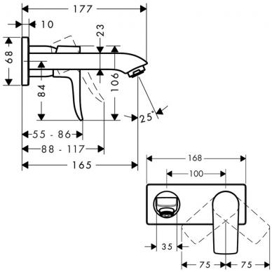 Hansgrohe Metris potinkinis praustuvo maišytuvas su potinkine dalimi, chromas 2