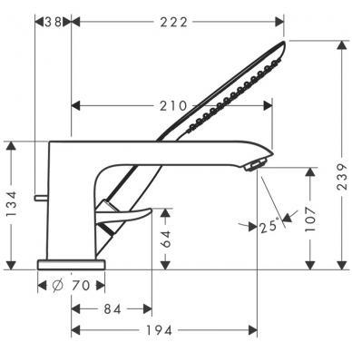 Hansgrohe Metris vonios maišytuvas montuojamas į kraštą, chromas 2