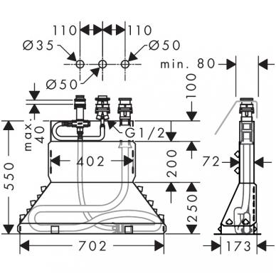 Hansgrohe Metris vonios maišytuvas montuojamas į kraštą, chromas 4