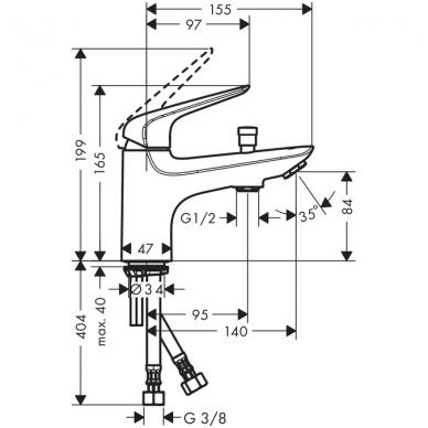 Hansgrohe Novus Monotrou vonios maišytuvas montuojamas į vonios kraštą, chromas 2