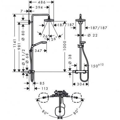 Hansgrohe Select E 180 2jet termostatnė dušo sistema, balta/chromas 2