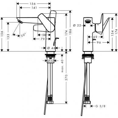 Hansgrohe Talis E 150 praustuvo maišytuvas, chromas 2