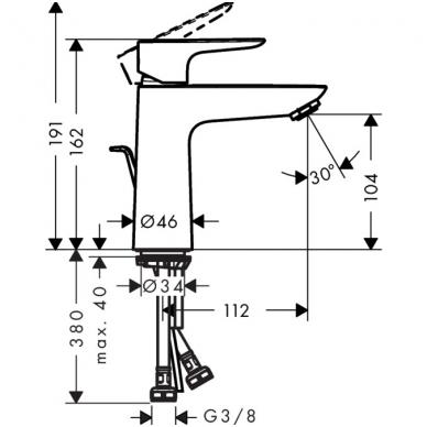 Hansgrohe Talis E praustuvo maišytuvas, taupantis vandenį 3.5 l/min, chromas 2