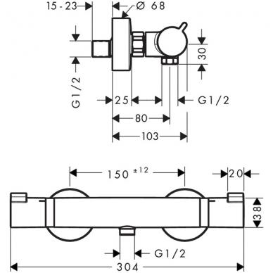 Hansgrohe Ecostat Comfort termostatinis dušo maišytuvas, chromas 2