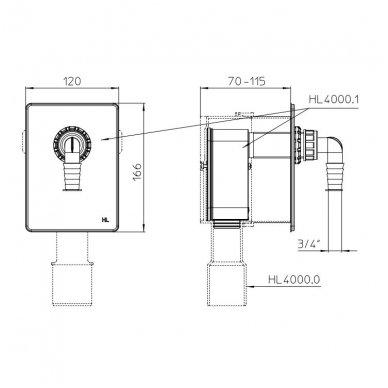 H&L potinkinio sifono montavimo komplektas su skalbimo mašinos pajungimo dalimi 2