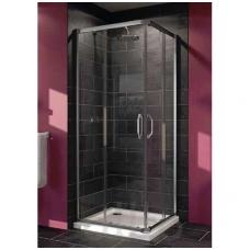 Huppe X1 kvadratinė dušo kabina, stumdomos durys, stiklas skaidrus, profilis blizgus, 80 x 80