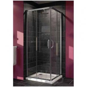 Huppe X1 kvadratinė dušo kabina, stumdomos durys, stiklas skaidrus, profilis blizgus, 90 x 90