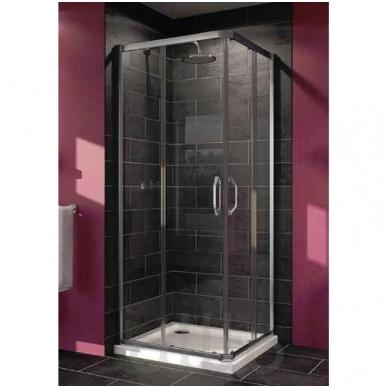 Huppe X1 kvadratinė dušo kabina, stumdomos durys, stiklas skaidrus, profilis blizgus, 100 x 100