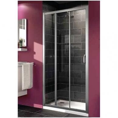 Huppe X1 stumdomos dušo durys, trijų dalių, stiklas skaidrus, profilis blizgus