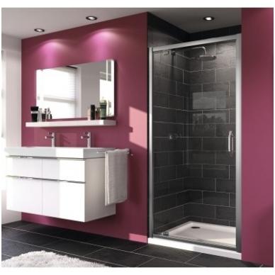 Huppe X1 varstomos dušo durys, stiklas skaidrus, profilis blizgus