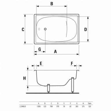 Jika Riga plieninė sėdimoji vonia su kojelėmis, 105 x 70, balta 2