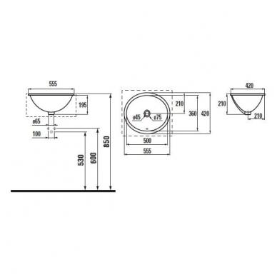 Jika Thalia iš apačios montuojamas praustuvas, 55,5 x 42 cm, baltas 2