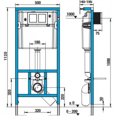 Jika WC System potinkinio rėmo komplektas su baltu mygtuku 2