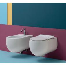 Kerasan Flo Norim 54 cm pakabinamas WC su SLIM lėtai nusileidžiančiu dangčiu, matinis baltas