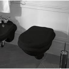 Kerasan Retro pakabinamas WC, blizgus juodas su lėtai nusileidžiančiu dangčiu