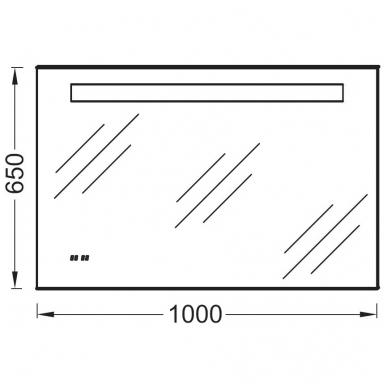 Kohler veidrodis, su LED apšvietimu, nerasojantis, su laikrodžiu, 100 x 65 cm, IP44 2