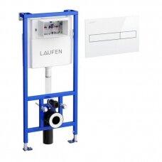 Laufen LIS CW1 potinkinis rėmas LIS CW1, 50 x 14 cm, h = 1120 mm ir nuleidimo mygtukas LIS duo, 25 x16 cm, baltas