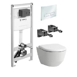 Laufen Pro Rimless pakabinamo WC ir Schell Modus C 120 rėmo komplektas su baltu mygtuku