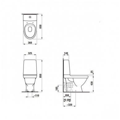 Laufen Kompas pastatomas WC su lėtai nusileidžiančiu dangčiu, baltas 3