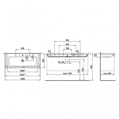 Laufen Living Square baldinis praustuvas, 180 x 48 cm, baltas 3