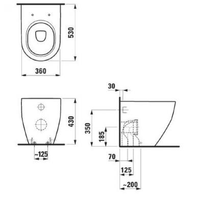 Laufen Pro pristatomas WC, nuotakas universalus, baltas 2