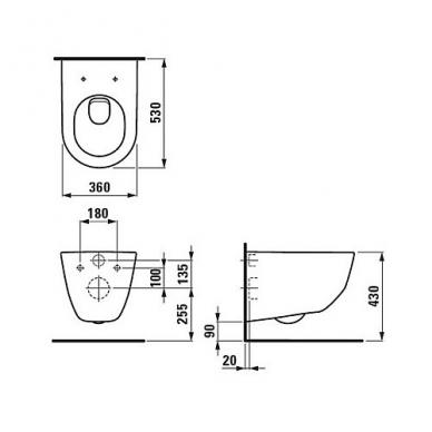 Laufen Pro Rimless pakabinamas WC su Slim lėtai nusileidžiančiu dangčiu, baltas 2
