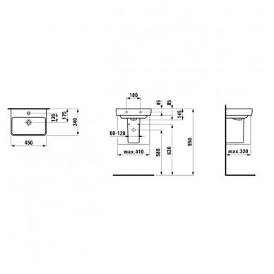 Laufen Pro S mažas pakabinamas praustuvas, 45 x 34 cm, baltas 2