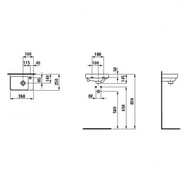 Laufen Pro S mažas praustuvas, 36 x 25 cm, baltas 2