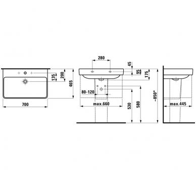 Laufen PRO S pakabinamas praustuvas, 70 x 46,5 cm, baltas 2