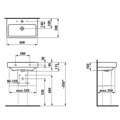 Laufen Pro S pakabinamas baldinis praustuvas, 60 x 38 cm, baltas 2