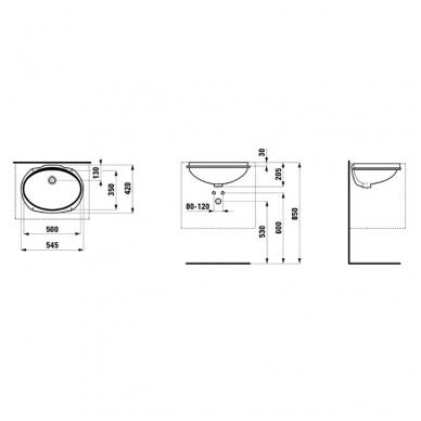 Laufen Savoy iš apačios montuojamas praustuvas, 50 x 35 cm, baltas 2
