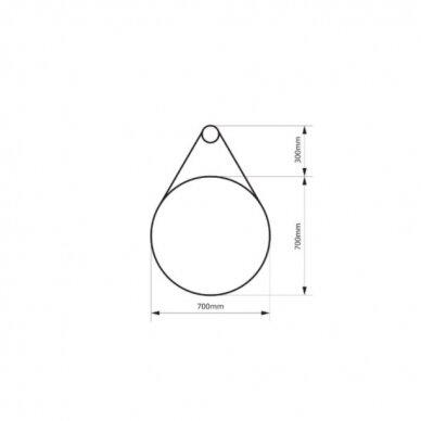 Massi Valo veidrodis, 70cm, juodos spalvos 4