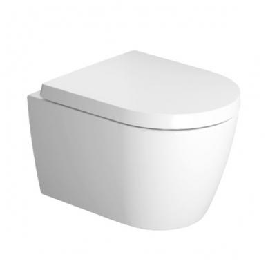 Duravit ME by Starck Compact Rimless pakabinamas WC, su lėtai nusileidžiančiu dangčiu, baltas