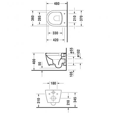 Duravit ME by Starck Compact Rimless pakabinamas WC, su lėtai nusileidžiančiu dangčiu, baltas 3
