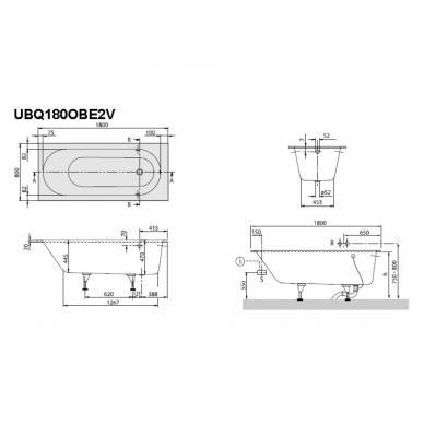 Villeroy & Boch Oberon vonia su kojomis, pagaminta iš Quaryl medžiagos 6