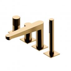 Omnires Contour 4 dalių maišytuvas voniai, braižytas auksas