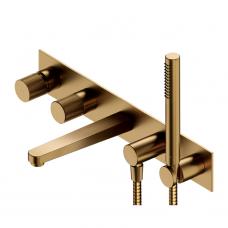 Omnires Contour 5 dalių vonios maišytuvas, braižytas auksas