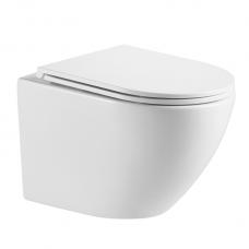 Omnires Ottawa Rimless pakabinamas WC su plonu lėtaeigiu dangčiu, bizgus baltas