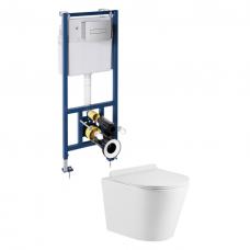 Omnires potinkinio rėmo Sanit su chromuotu mygtuku ir pakabinamo WC Omnires Tampa su plonu lėtaeigiu dangčiu komplektas