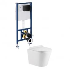Omnires potinkinio rėmo Sanit su juodu mygtuku ir pakabinamo WC Omnires Tampa su plonu lėtaeigiu dangčiu komplektas