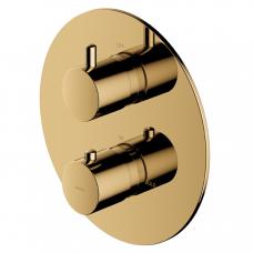 Omnires potinkinis termostatinis vonios/dušo maišytuvas su 2 išėjimais, auksas