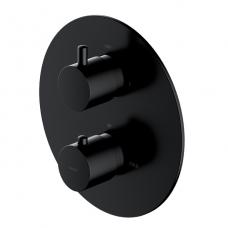 Omnires potinkinis termostatinis vonios/dušo maišytuvas su 2 išėjimais, juodas