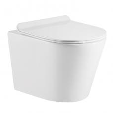 Omnires Tampa pakabinamas WC su plonu lėtaeigiu dangčiu, blizgus baltas